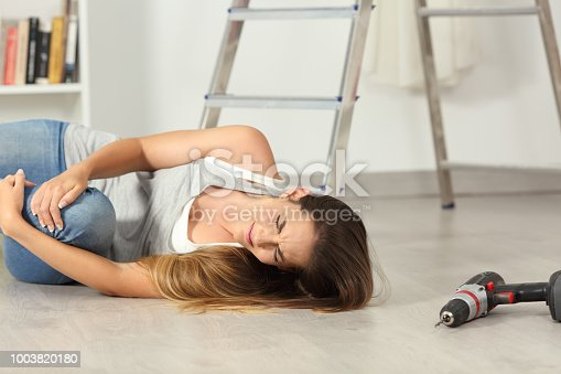 istock Domestic accident of a woman falling down at home 1003820180