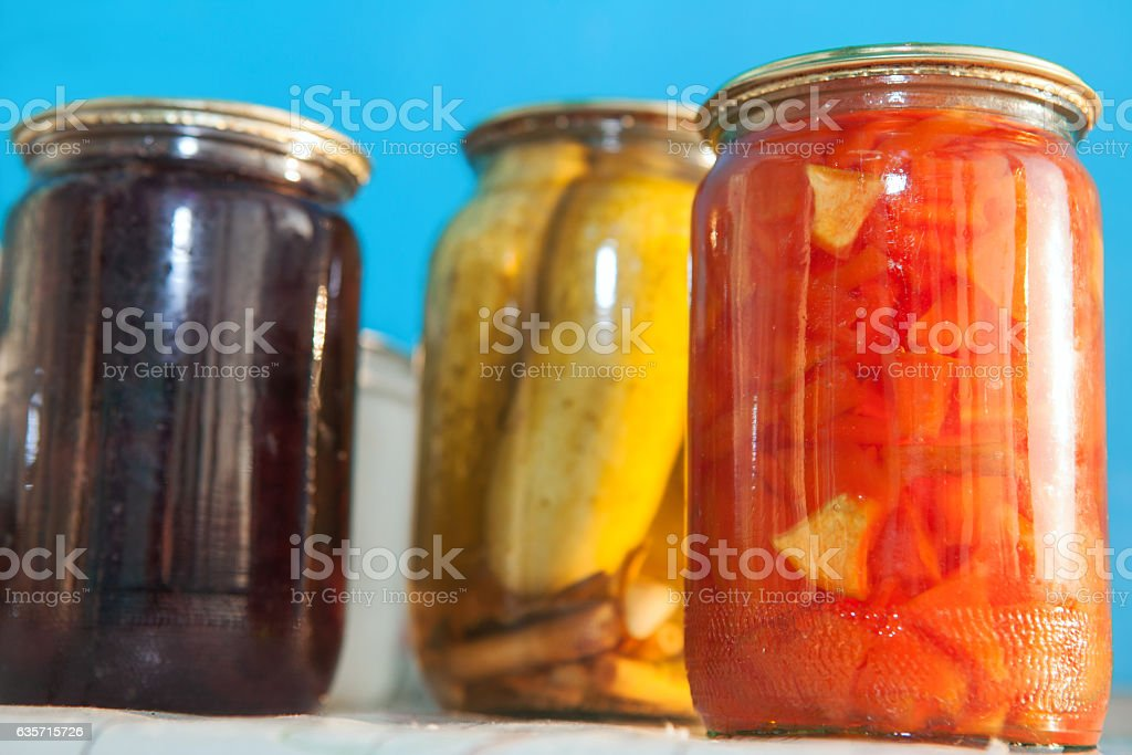 domestic canning vegetables and jam royalty-free stock photo