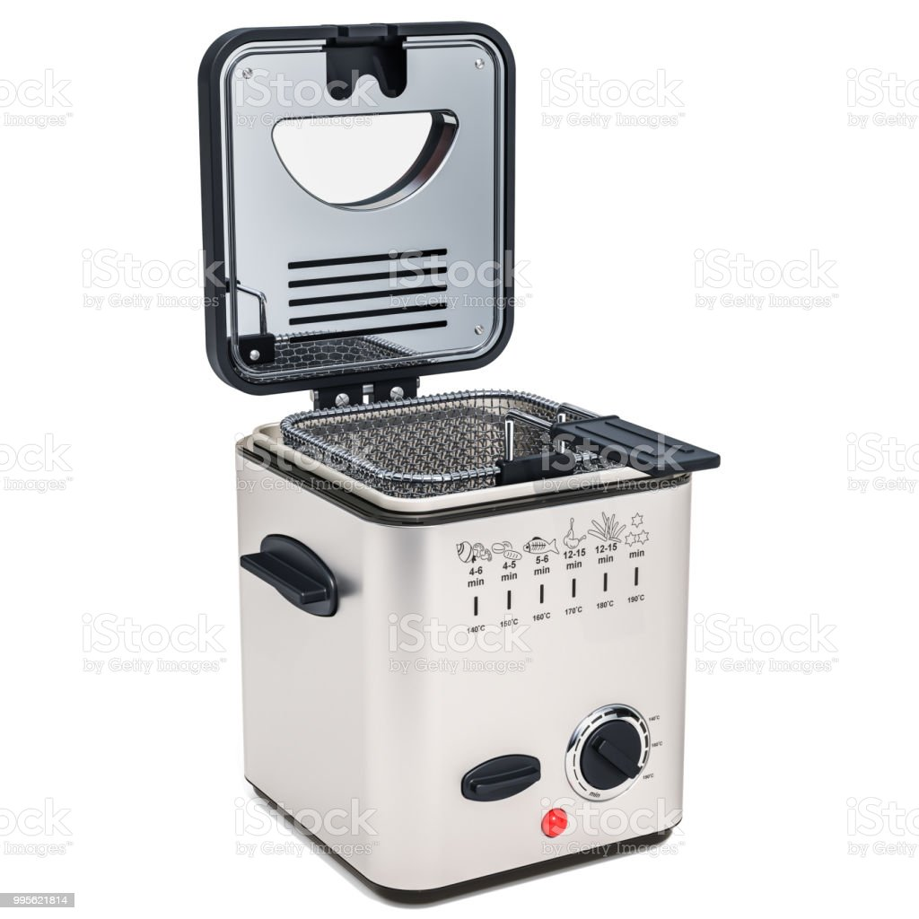 Domestic Deep Fryer 3d Rendering Isolated On White
