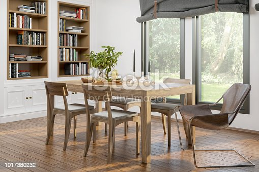 Picture of domestic dining room. Render image.