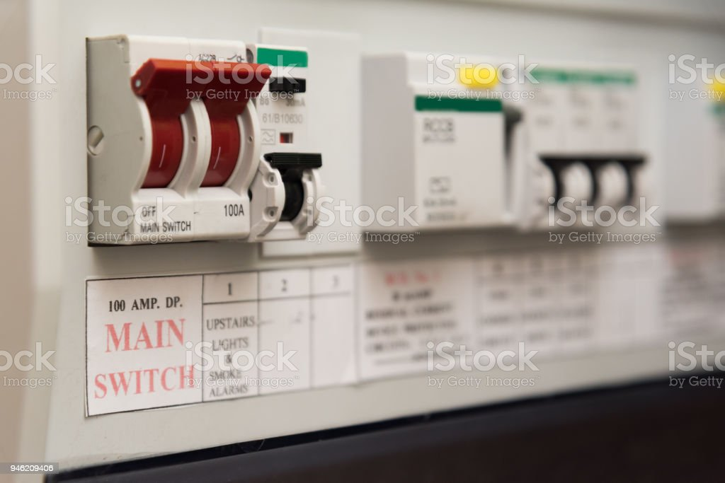 uk domestic electrical consumer unit or fuse box royalty-free stock photo