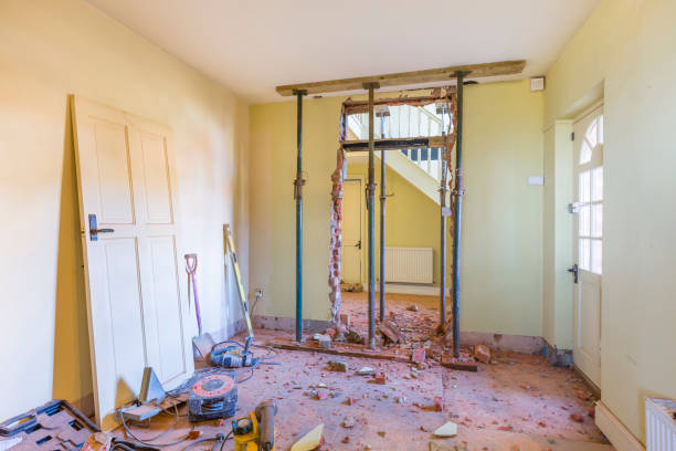 Domestic house room renovation and building work Removing a wall during a home renovation, UK building work knocked down stock pictures, royalty-free photos & images
