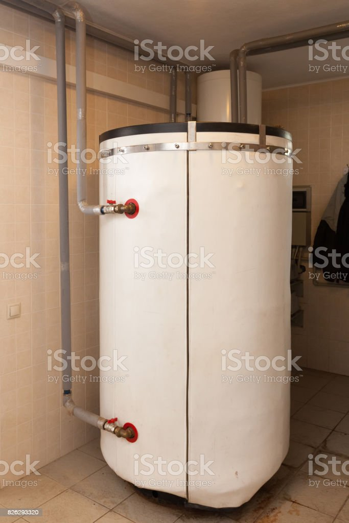 A Domestic Household Boiler Room With A New Modern Solid Fuel Boiler ...