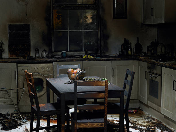 domestic kitchen burnt in fire - damaged stock photos and pictures