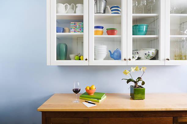 Domestic kitchen counter top and cabinet display of neat organization picture id157428035?b=1&k=6&m=157428035&s=612x612&w=0&h=kja9md6vx5btoabfshmziabdcqtlhlax8uiibuz 9nq=