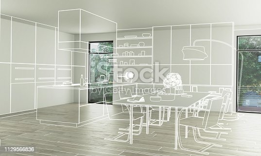 Domestic Kitchen Design (conception) - 3d illustration