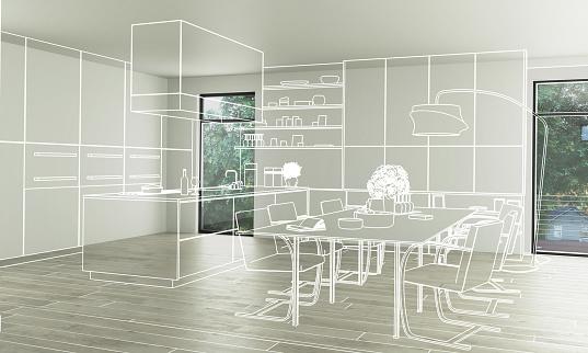 Domestic Kitchen Design (conception) - 3d illustration