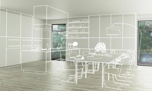 внутренний дизайн кухни (концепция) - 3d иллюстрация - понятия и темы стоковые фото и изображения
