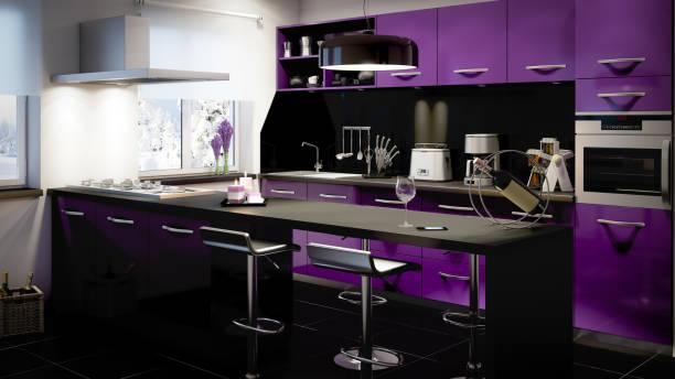 heimischen küche interieur - küche lila stock-fotos und bilder