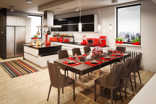 heimischen küche interieur - roten küchentische stock-fotos und bilder