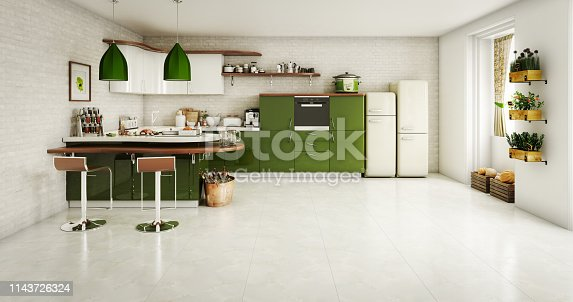 Digitally generated modern domestic kitchen interior design.  The scene was rendered with photorealistic shaders and lighting in Autodesk® 3ds Max 2016 with V-Ray 3.6 with some post-production added.