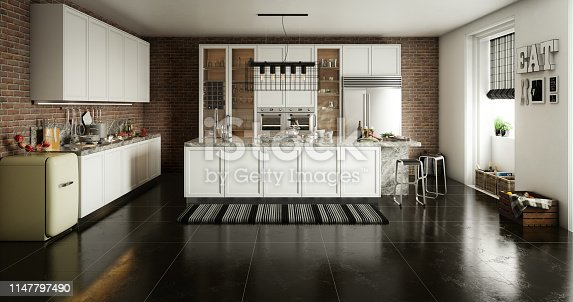 Digitally generated stylish domestic kitchen interior design with a classic kitchen counter with island.  The scene was rendered with photorealistic shaders and lighting in Autodesk® 3ds Max 2016 with V-Ray 3.6 with some post-production added.