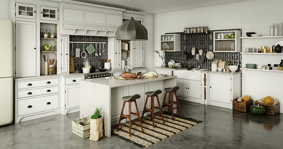 Digitally generated luxury (stylish) domestic kitchen interior with rustic elements.  The scene was rendered with photorealistic shaders and lighting in Autodesk® 3ds Max 2020 with V-Ray 5 with some post-production added.