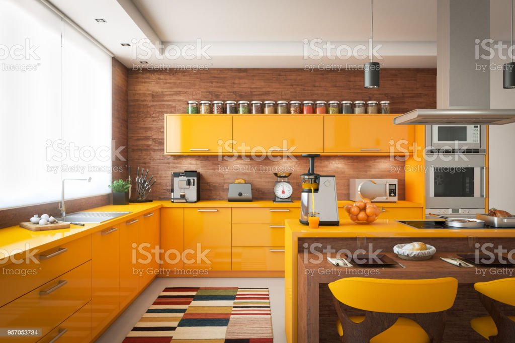 Domestic Kitchen Interior stock photo