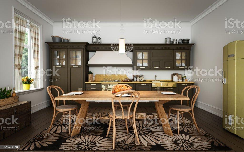 Domestic Kitchen Interior stock photo