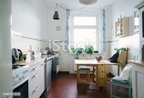 Domestic kitchen of a Berlin apartment. No people