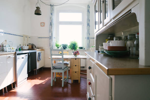 Domestic kitchen Domestic kitchen of a Berlin apartment. No people real life stock pictures, royalty-free photos & images