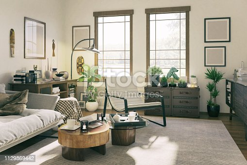 Picture of a domestic living room. Render image.