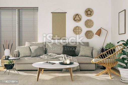 Picture of a cozy living room. Render image.