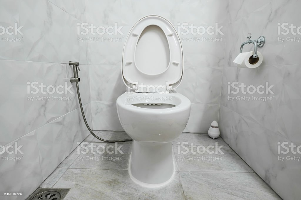 Domestic modern restroom with white lavatory stock photo