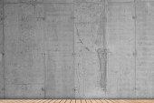 Domestic room concrete wall wooden floor