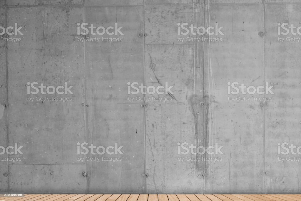 Domestic room concrete wall wooden floor stock photo