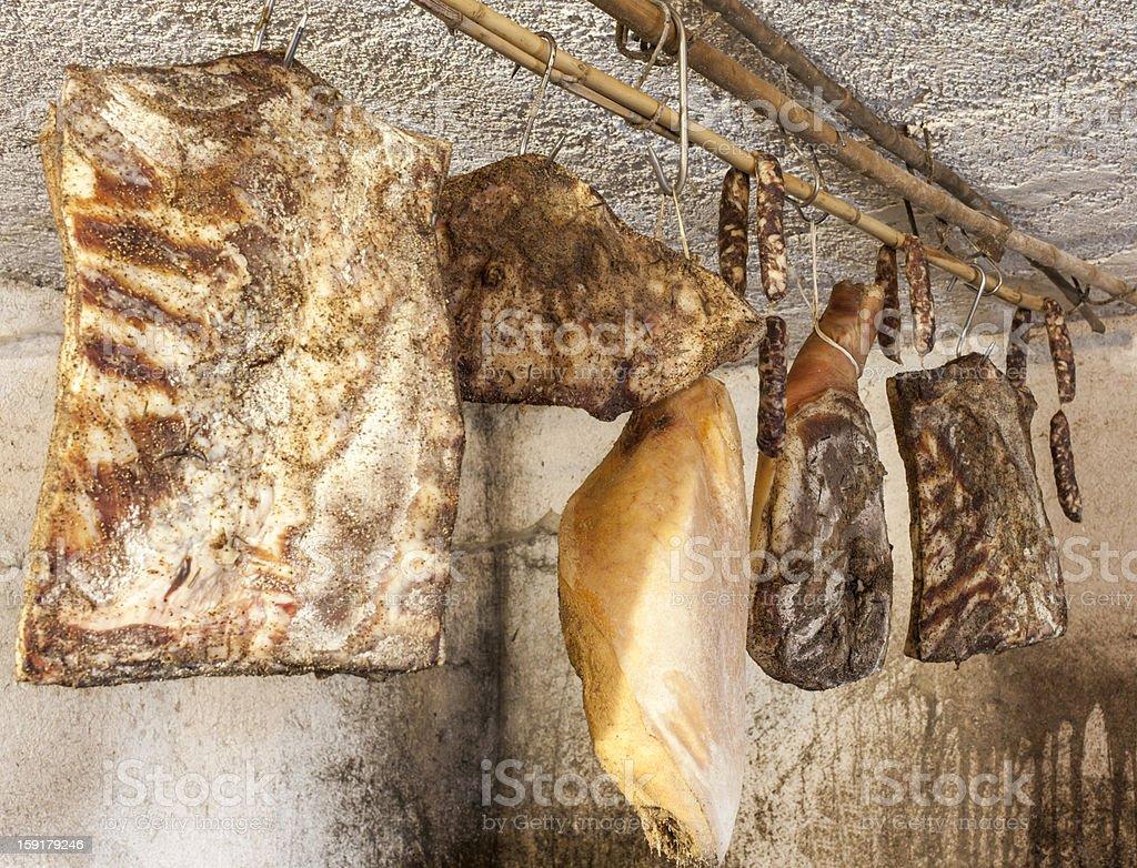 Domestic smoked meat delicatessen stock photo