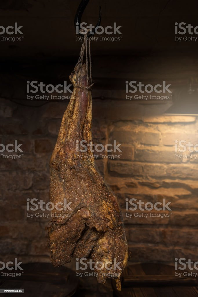 Domestic smoked meat produced stock photo