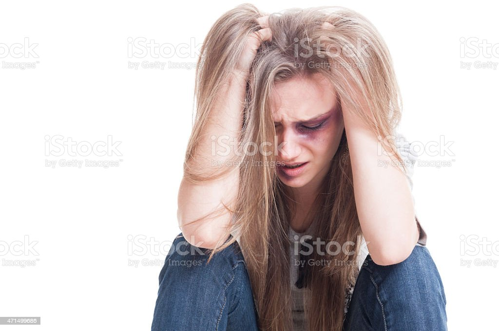 Domestic violence and despair concept stock photo