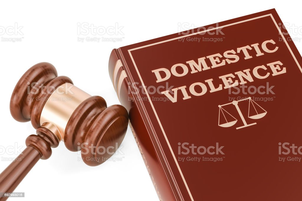 Domestic violence concept with gavel and book, 3D rendering stock photo
