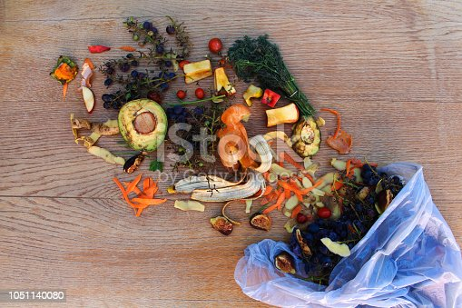 Domestic waste for compost from fruits and vegetables in the garbage bag on the table.