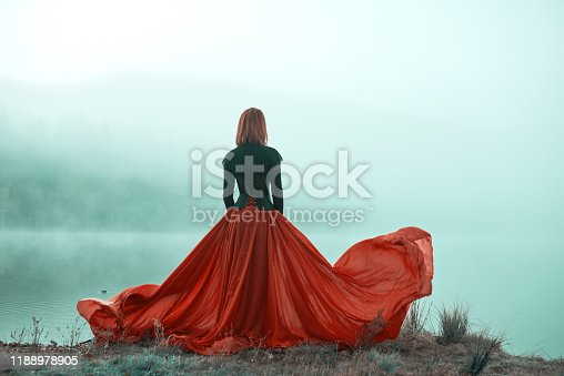 Rear view of woman wearing red skirt posing in fairytale concept at the lake, autumn concept, fog surrounding her