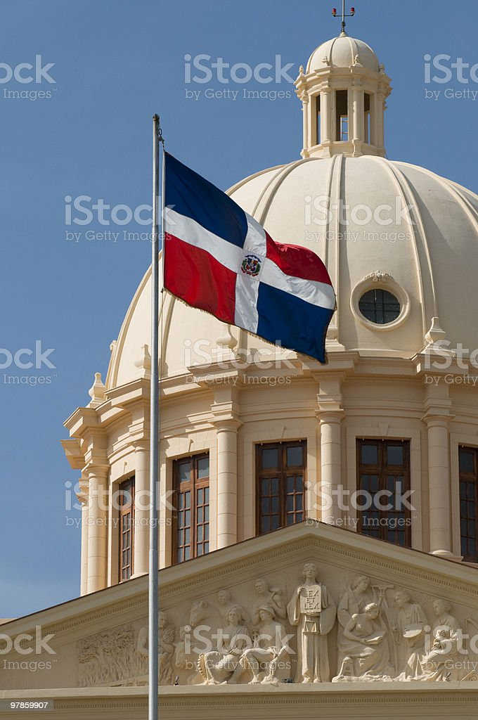 Domincan Republic National Flag and Palace - Santo Domingo stock photo