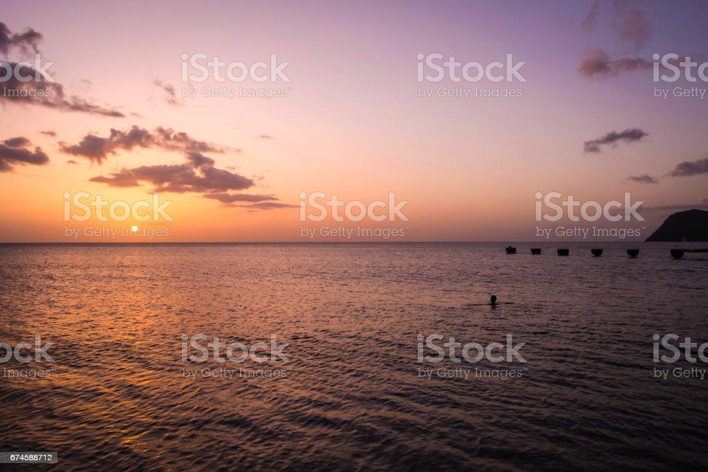 Dominica Landscape Sunset stock photo