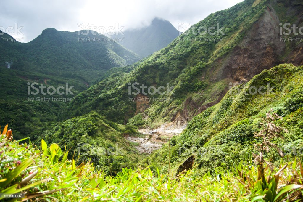 Dominica Valley of Desolation Boiling Lake Hike Landscape stock photo