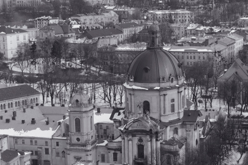 Dominican Church in Lviv at winter