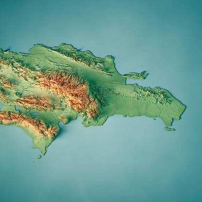 topographic map of dominican republic Dominican Republic 3d Render Topographic Map Stock Photo