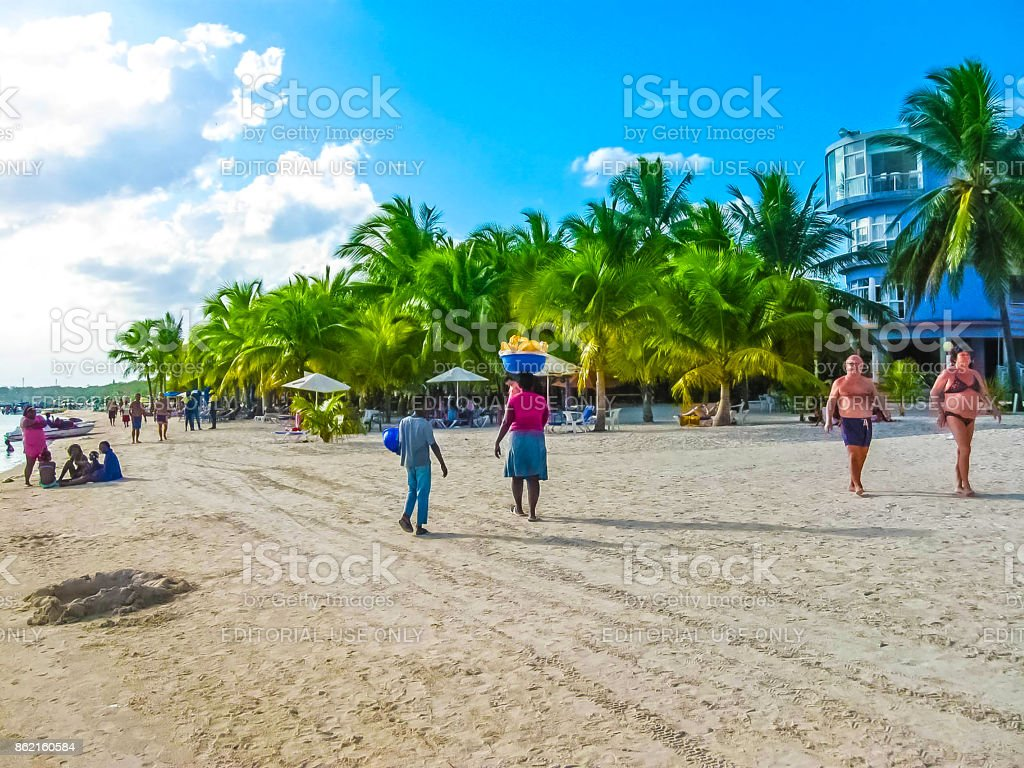 Boca Chica, Dominican Republic - February 12, 2013: Dominican Republic. Boca Chica. Beach, summer, sun, sea stock photo