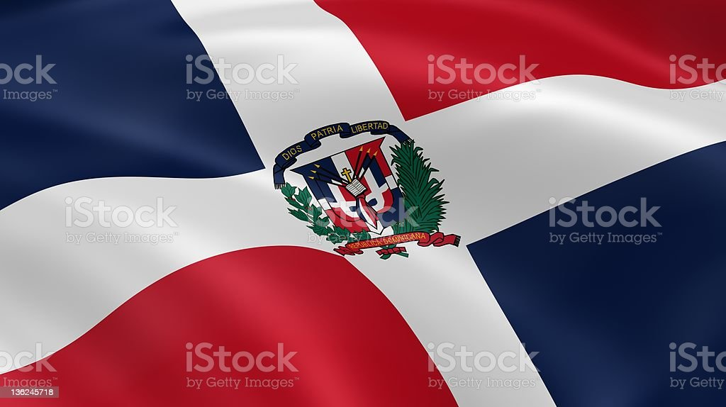 Dominican Republic flag in the wind royalty-free stock photo