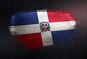Dominican Republic Flag Made of Metallic Brush Paint on Grunge Dark Wall
