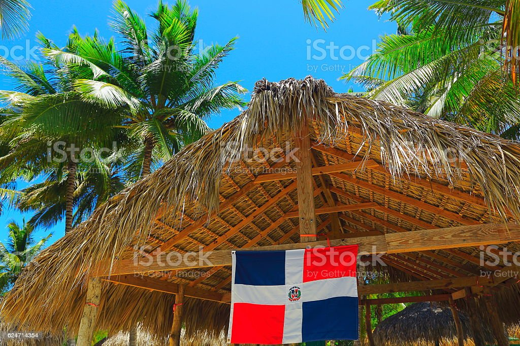 Dominican Republic flag, Tropical paradise, palapa - Punta Cana - foto de acervo