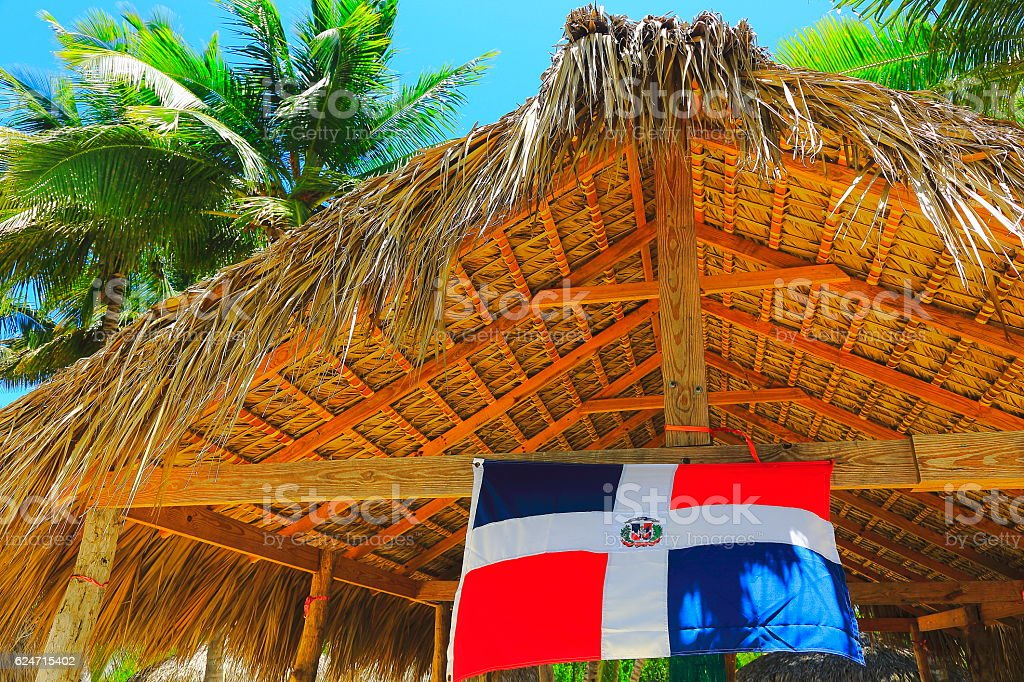 dominican republic flag tropical paradise thatched palapa punta cana