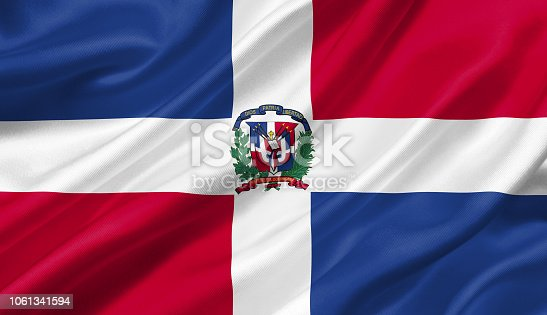 Dominican Republic flag waving with the wind, 3D illustration.