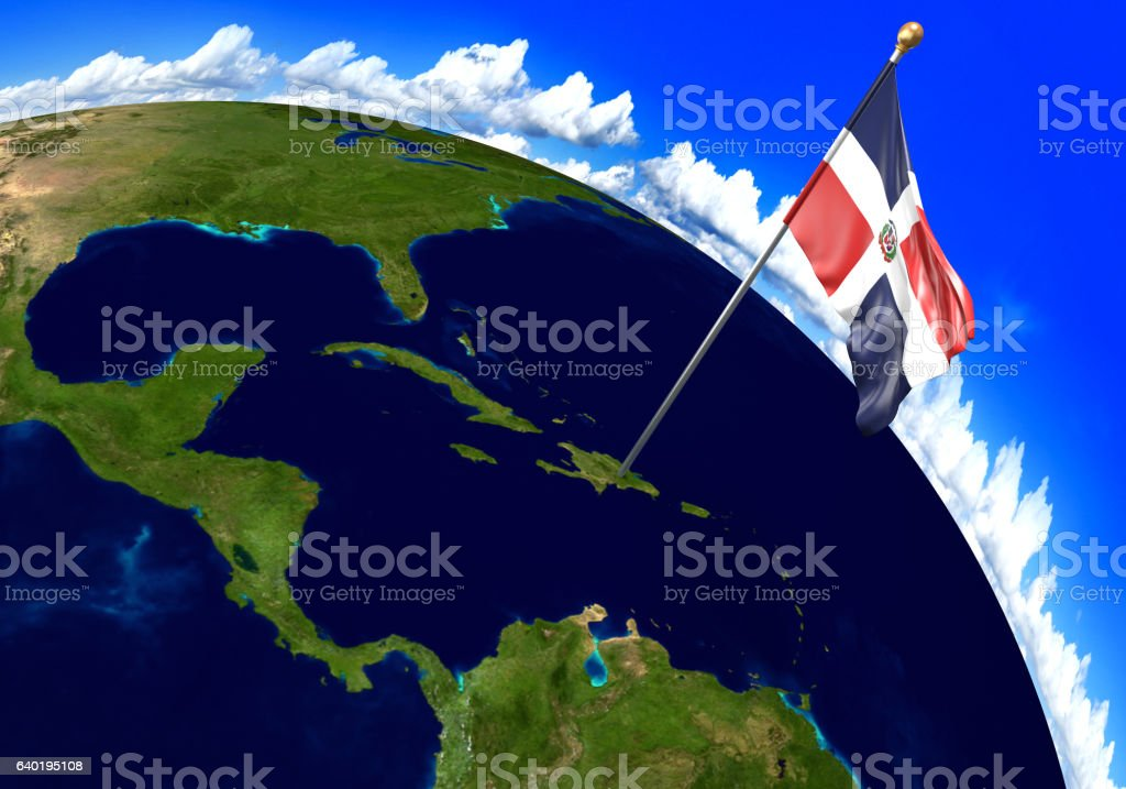 Dominican Republic National Flag Marking Country Location On World