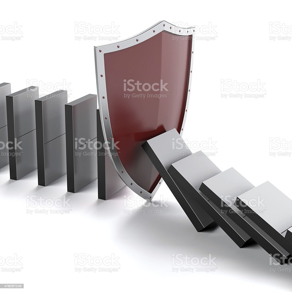 Domino and shield royalty-free stock photo