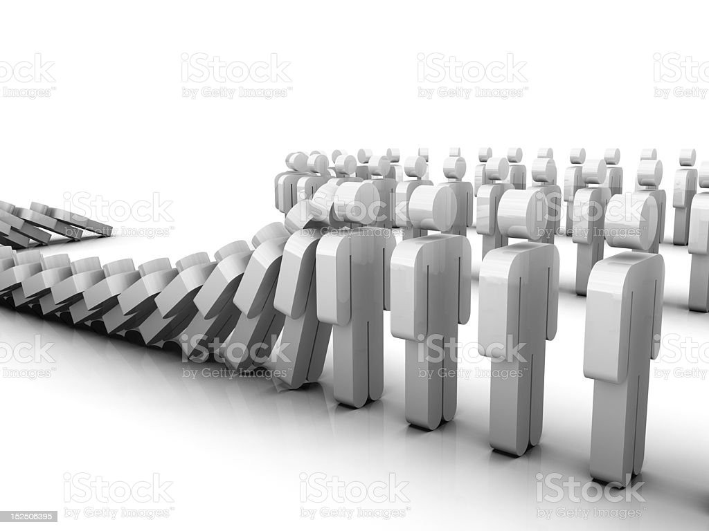 Domino Effect Computer generated image illustrating the domino effect with human shaped dominoes. Adult Stock Photo