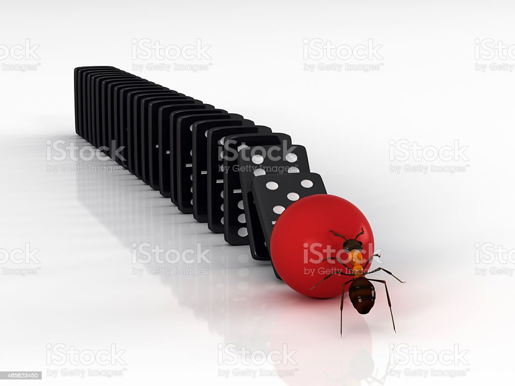 An ant rolling a red ball towards dominoes to start domino effect, 3d...