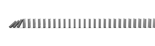 Domino pieces falling. Horizontal illustration with dominoes isolated on white background. stock photo