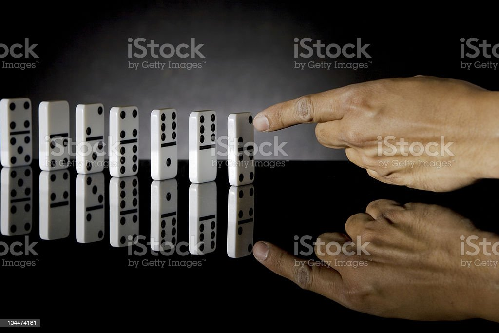 Domino Pushed royalty-free stock photo