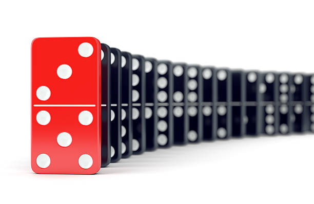 Domino tiles in a row stock photo